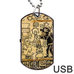 Mystery Pattern Pyramid Peru Aztec Font Art Drawing Illustration Design Text Mexico History Indian Dog Tag Usb Flash (two Sides) by Celenk
