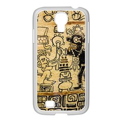 Mystery Pattern Pyramid Peru Aztec Font Art Drawing Illustration Design Text Mexico History Indian Samsung Galaxy S4 I9500/ I9505 Case (white)