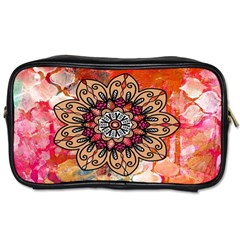 Mandala Art Design Pattern Ethnic Toiletries Bags 2 Side by Celenk