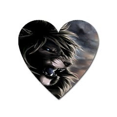 Angry Lion Digital Art Hd Heart Magnet by Celenk