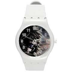 Angry Lion Digital Art Hd Round Plastic Sport Watch (m) by Celenk