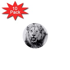 Lion Wildlife Art And Illustration Pencil 1  Mini Buttons (10 Pack)  by Celenk