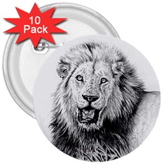 Lion Wildlife Art And Illustration Pencil 3  Buttons (10 Pack)  by Celenk