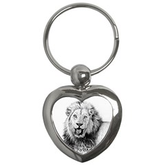 Lion Wildlife Art And Illustration Pencil Key Chains (heart)  by Celenk