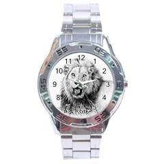 Lion Wildlife Art And Illustration Pencil Stainless Steel Analogue Watch by Celenk