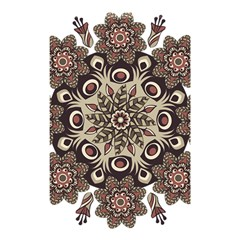 Mandala Pattern Round Brown Floral Shower Curtain 48  X 72  (small)  by Celenk