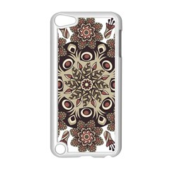 Mandala Pattern Round Brown Floral Apple Ipod Touch 5 Case (white) by Celenk