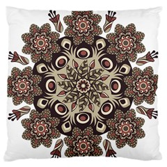 Mandala Pattern Round Brown Floral Standard Flano Cushion Case (one Side) by Celenk