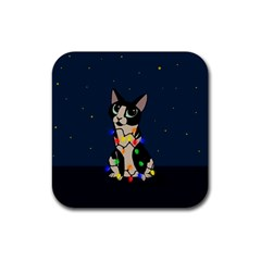 Meowy Christmas Rubber Coaster (square)  by Valentinaart