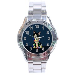 Meowy Christmas Stainless Steel Analogue Watch by Valentinaart