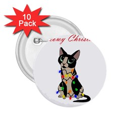 Meowy Christmas 2 25  Buttons (10 Pack)  by Valentinaart