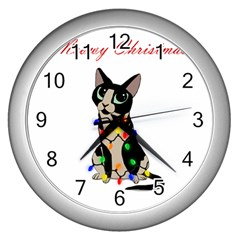 Meowy Christmas Wall Clocks (silver)
