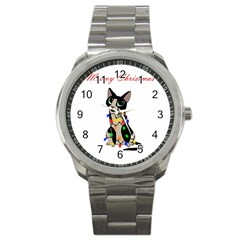 Meowy Christmas Sport Metal Watch by Valentinaart