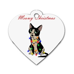 Meowy Christmas Dog Tag Heart (one Side) by Valentinaart