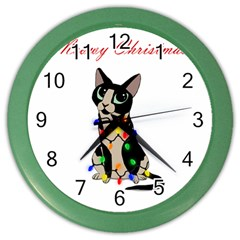 Meowy Christmas Color Wall Clocks by Valentinaart