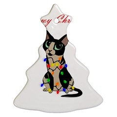 Meowy Christmas Christmas Tree Ornament (two Sides) by Valentinaart