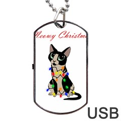 Meowy Christmas Dog Tag Usb Flash (one Side) by Valentinaart