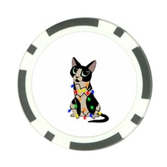 Meowy Christmas Poker Chip Card Guard by Valentinaart