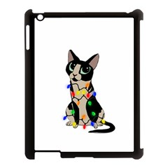 Meowy Christmas Apple Ipad 3/4 Case (black) by Valentinaart