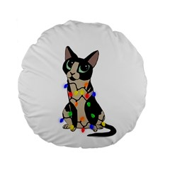 Meowy Christmas Standard 15  Premium Round Cushions by Valentinaart