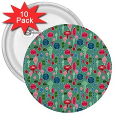 Vintage Christmas Hand Painted Ornaments In Multi Colors On Teal 3  Buttons (10 Pack)  by PodArtist