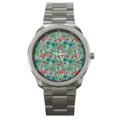 Vintage Christmas Hand Painted Ornaments In Multi Colors On Teal Sport Metal Watch by PodArtist