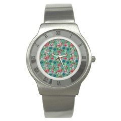 Vintage Christmas Hand Painted Ornaments In Multi Colors On Teal Stainless Steel Watch by PodArtist