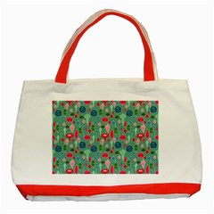 Vintage Christmas Hand Painted Ornaments In Multi Colors On Teal Classic Tote Bag (red) by PodArtist