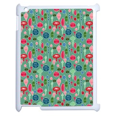 Vintage Christmas Hand Painted Ornaments In Multi Colors On Teal Apple Ipad 2 Case (white) by PodArtist
