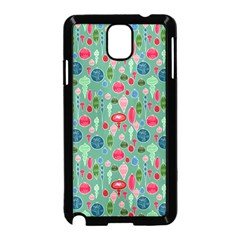 Vintage Christmas Hand Painted Ornaments In Multi Colors On Teal Samsung Galaxy Note 3 Neo Hardshell Case (black)