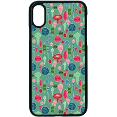 Vintage Christmas Hand Painted Ornaments In Multi Colors On Teal Apple Iphone X Seamless Case (black)