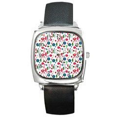 Vintage Christmas Hand Painted Ornaments In Multi Colors On White Square Metal Watch by PodArtist