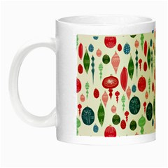 Vintage Christmas Hand-painted Ornaments In Multi Colors On White Night Luminous Mugs by PodArtist