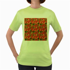 Vintage Christmas Hand-painted Ornaments In Multi Colors On Rose Women s Green T-shirt by PodArtist