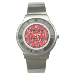 Vintage Christmas Hand Painted Ornaments In Multi Colors On Rose Stainless Steel Watch by PodArtist