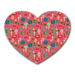 Vintage Christmas Hand Painted Ornaments In Multi Colors On Rose Heart Mousepads by PodArtist