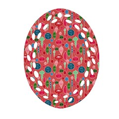 Vintage Christmas Hand Painted Ornaments In Multi Colors On Rose Ornament (oval Filigree) by PodArtist