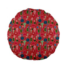 Vintage Christmas Hand Painted Ornaments In Multi Colors On Rose Standard 15  Premium Flano Round Cushions by PodArtist