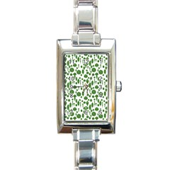 Vintage Christmas Ornaments In Green On White Rectangle Italian Charm Watch by PodArtist