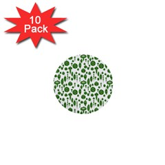 Vintage Christmas Ornaments In Green On White 1  Mini Buttons (10 Pack)  by PodArtist