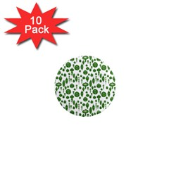 Vintage Christmas Ornaments In Green On White 1  Mini Magnet (10 Pack)  by PodArtist