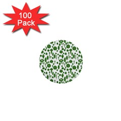 Vintage Christmas Ornaments In Green On White 1  Mini Buttons (100 Pack)  by PodArtist