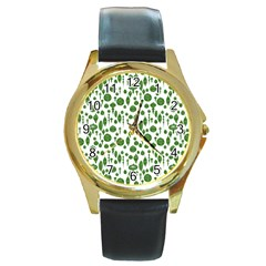 Vintage Christmas Ornaments In Green On White Round Gold Metal Watch by PodArtist