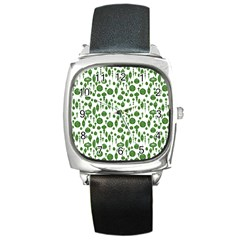 Vintage Christmas Ornaments In Green On White Square Metal Watch by PodArtist