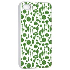 Vintage Christmas Ornaments In Green On White Apple Iphone 4/4s Seamless Case (white) by PodArtist