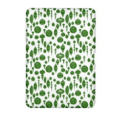 Vintage Christmas Ornaments In Green On White Samsung Galaxy Tab 2 (10 1 ) P5100 Hardshell Case  by PodArtist