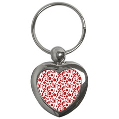 Vintage Christmas Ornaments In Red On White Key Chains (heart)  by PodArtist