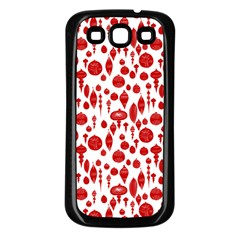 Vintage Christmas Ornaments In Red On White Samsung Galaxy S3 Back Case (black) by PodArtist