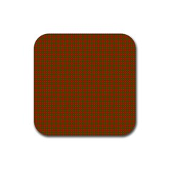 Classic Christmas Red And Green Houndstooth Check Pattern Rubber Square Coaster (4 Pack)  by PodArtist