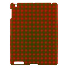 Classic Christmas Red And Green Houndstooth Check Pattern Apple Ipad 3/4 Hardshell Case by PodArtist